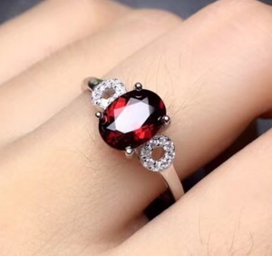 Olivia Sterling Silver 1.5 Carat Oval Garnet and CZ Ring, Garnet Ring, January Birthstone Ring, Sterling Silver Garnet Ring, 1.5 carat garnet, Garnet, Garnet Gemstone, 100Sterling.com