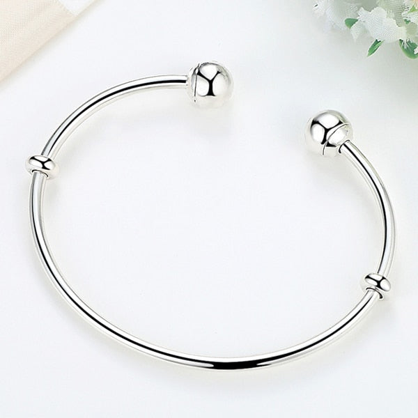 29855bdff65 Classic Sterling Silver Open Bangle Bracelet With Spacer Stoppers –  100Sterling