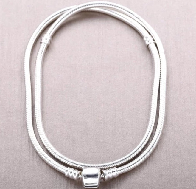 Sterling Silver Snake Chain Necklace with Barrel Clasp