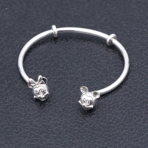 Genuine Sterling Silver Disney Character Open Bangle Bracelet