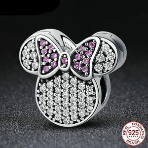 Sterling Silver Sparkling Mini Mouse Lavender Bow Bead Clip