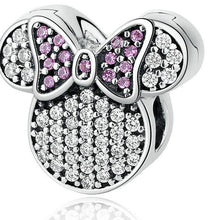 Load image into Gallery viewer, Sterling Silver Sparkling Mini Mouse Lavender Bow Bead Clip