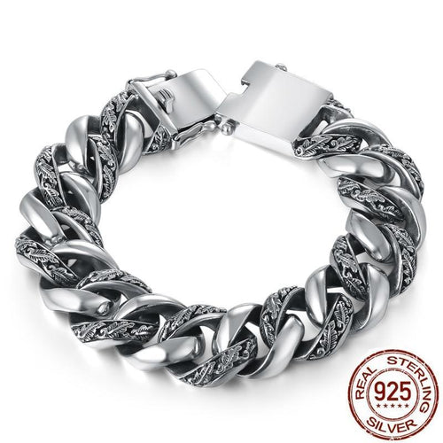 Thai Sterling Silver Link-on-Link Bracelet, Thai Sterling Silver Chain Link Bracelet, Sterling Silver Chunky Bracelet, Sterling Silver Bracelet, Men's Sterling Silver Bracelet, heavy Sterling Silver, Men's jewelry, Luxury Jewelry, Exclusive jewelry, 100sterling.com