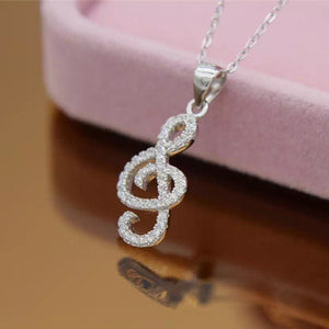 Sterling Silver Sparkling Treble Clef Pendant Necklace