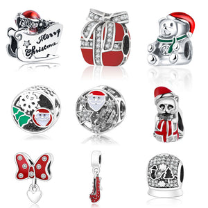 Colorful Sterling Silver Christmas Bead Charm Collection - 10 Designs