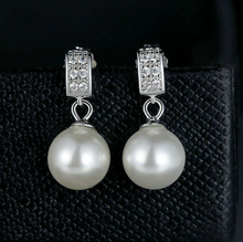 Load image into Gallery viewer, Sterling Silver Drop pearl & Cubic Zirconia Earrings, Wedding Earrings, Special Occasion Earrings, Sterling Silver Earrings, Bridal Earrings, Pearl Drop Earrings, Sterling Silver Pearl Drop Earrings, 100Sterling.com