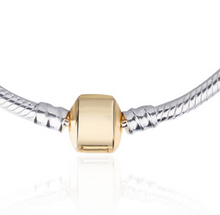Load image into Gallery viewer, Sterling Silver Snake Chain Necklace with Gold-Plated Barrel Clasp