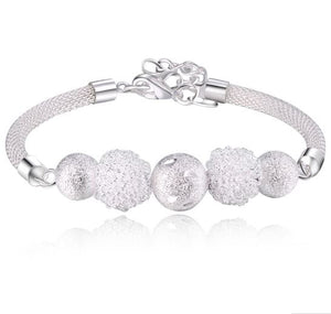 Women's Silver Plated Snow Ball Bracelet