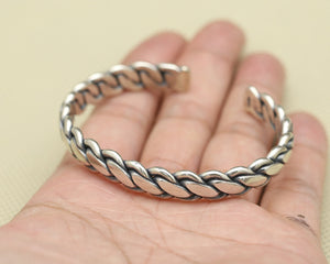 Solid Sterling Silver Domar Braided Weave Open Cuff