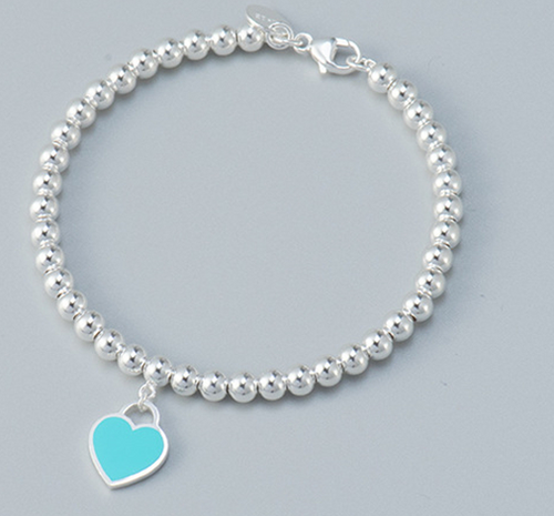 Sterling Silver Round Bead Bracelet with Dangling Blue/Green, Red, Pink or Silver Heart