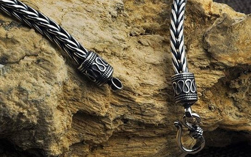 Men's Vintage Design Thai Silver Braided Weave Necklace - Holiday Special Now 15% OFF