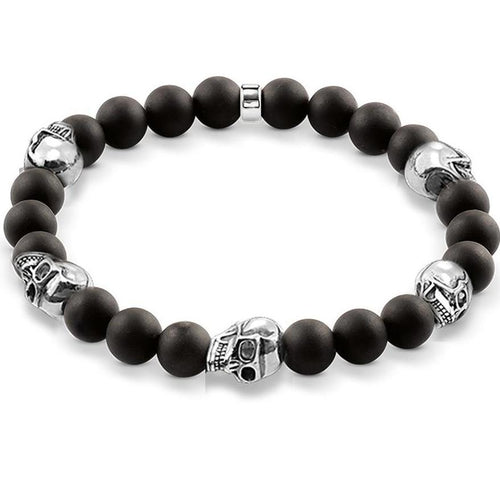 Men's CorbinOne Silver Plated Five Skull & Black Matt Obsidian Bracelet