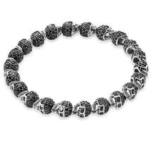 Load image into Gallery viewer, Men's CorbinOne Silver Plated Black Pave Set Cubic Zirconia Skull Bead Bracelet