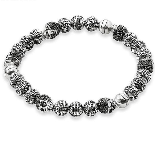 Men's CorbinOne Silver Plated Full Circle Designer Bead Bracelet