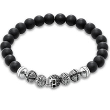 Load image into Gallery viewer, Men's CorbinOne Silver Plated Skull, Designer & Obsidian Bead Bracelet