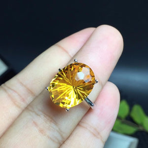 Sterling Silver Radiant 6 Carat Oval Citrine Ring
