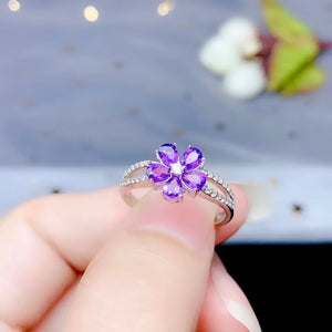 Aribelle Five Stone Amethyst Floret & Sterling Silver Ring