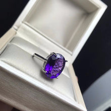 Load image into Gallery viewer, Arabella 5 Carat Natural Amethyst and Sterling Silver Ring, Amethyst Ring, February Birthday gift, February Birthstone, February Birthstone Ring, Amethyst Birthstone Ring, Birthstone Ring, Amethyst Jewelry, Amethyst and Sterling Silver Ring, Amethyst and Sterling Silver jewlery, 5 Carat Gemstone, 5 Carat Amethyst Gemstone, 100Sterling.com
