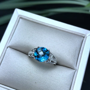 Bailee 2.04 Carat Round Blue Topaz & CZ Sterling Silver Ring, Blue Topaz, Blue Topaz Ring, Blue Topaz Birthstone, Blue Topaz Birthstone Ring, Blue Topaz and Sterling Silver, Birthday Ring, December Birthstone, December Birthstone Ring, 100Sterling.com