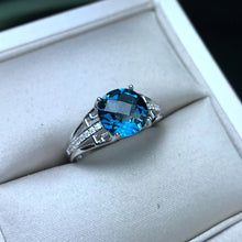 Load image into Gallery viewer, Bailee 2.04 Carat Round Blue Topaz & CZ Sterling Silver Ring, Blue Topaz, Blue Topaz Ring, Blue Topaz Birthstone, Blue Topaz Birthstone Ring, Blue Topaz and Sterling Silver, Birthday Ring, December Birthstone, December Birthstone Ring, 100Sterling.com