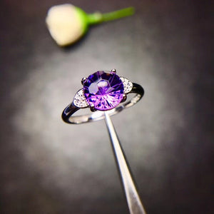 Andrea Sterling Silver 2 Carat Amethyst Solitaire Ring with Cubic Zirconia Accents