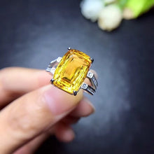 Load image into Gallery viewer, Sterling Silver Natural 8 Carat Citrine Gemstone Stone Ring