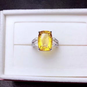 Sterling Silver Natural 8 Carat Citrine Gemstone Stone Ring