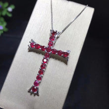 Load image into Gallery viewer, Sterling Silver & Genuine Ruby Cross Necklace, Genuine Ruby Pendent, Genuine Ruby Cross, Ruby Cross, Women's Ruby Jewelry, Women's Ruby Cross, Women's Ruby Necklace, 100Sterling.com