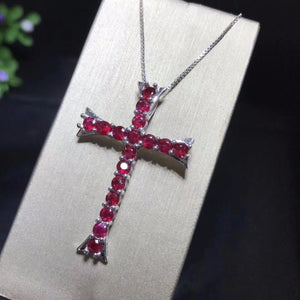 Sterling Silver & Genuine Ruby Cross Necklace, Genuine Ruby Pendent, Genuine Ruby Cross, Ruby Cross, Women's Ruby Jewelry, Women's Ruby Cross, Women's Ruby Necklace, 100Sterling.com