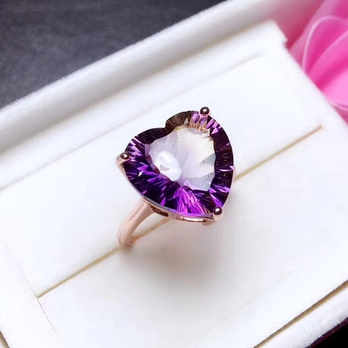Ariana Heart-Shaped Amethyst & Citrine (Ametrine) Sterling Silver Ring