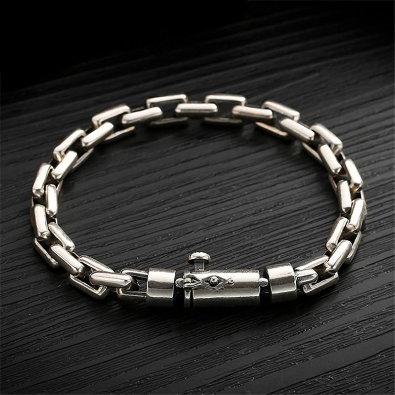 Hand-made Solid Thai Sterling Silver Chain Link Bracelet
