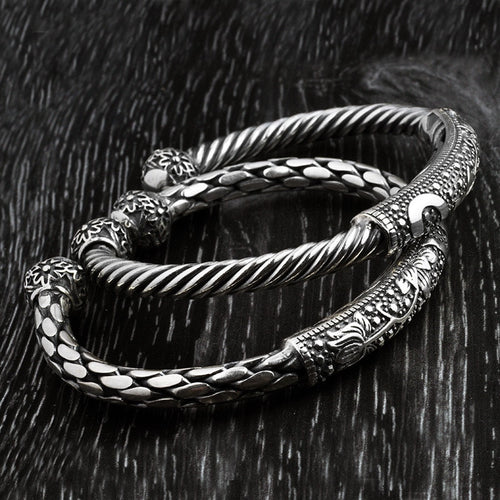 Solid Thai Sterling Silver Accent Cuff Bangles -Two Designs