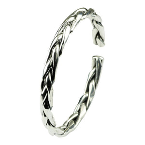 Braided Sterling Silver Open Bangle Bracelet