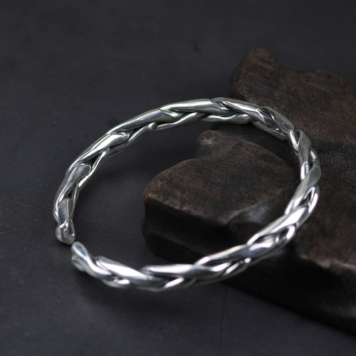Braided Twist Sterling Silver Open Bangle Bracelet, Sterling Silver bracelet, Sterling Silver Jewelry, Silver jewelry, Silver, Bangle Bracelet, Unisex, 100Sterling.com