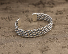 Load image into Gallery viewer, Sterling Silver Four Row Weave Cuff Bangle Bracelet - On Sale Thru January 30th...A Perfect Gift for Valentine's Day