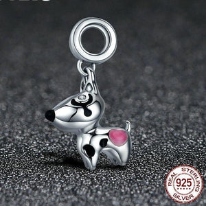 Sterling Silver Spotted Dog Dangling Charm