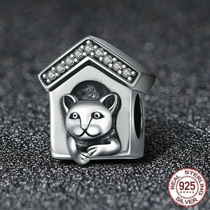 Sterling Silver & Cubic Zirconia Trim Doghouse Bead Charm