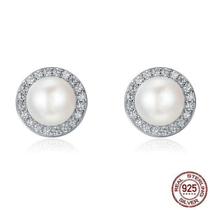 Sterling Silver Round Freshwater Pearl  & Cubic Zirconia Stud Earrings