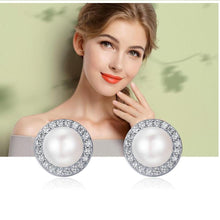 Load image into Gallery viewer, Sterling Silver Round Freshwater Pearl  & Cubic Zirconia Stud Earrings