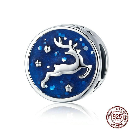 Sterling Silver Reindeer in the Night Sky Bead Charm
