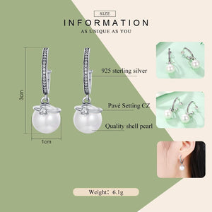 Dangling CZ & Sterling Silver Shell Pearl Earrings