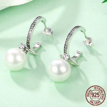 Load image into Gallery viewer, Dangling CZ & Sterling Silver Shell Pearl Earrings
