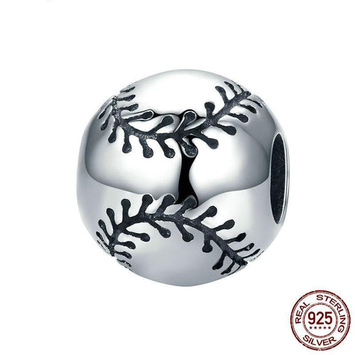 Sterling Silver Round Baseball with Black Stitching Bead