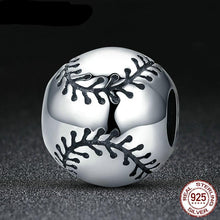 Load image into Gallery viewer, Sterling Silver Round Baseball Bead with Black Stitching Accents