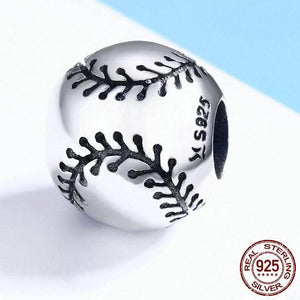 Sterling Silver Round Baseball Bead with Black Stitching Accents