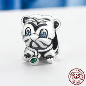 Sterling Silver Blue Eyed Pup Bead Charm
