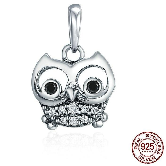 Sterling Silver Dangling Big Eyed Owl Charm