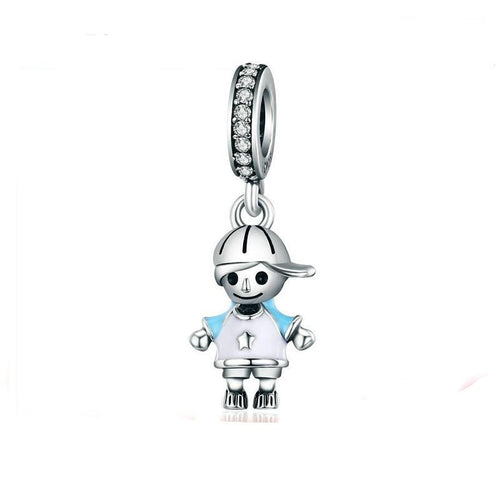Dangling Sterling Silver Baseball Boy Charm