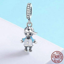 Load image into Gallery viewer, Dangling Sterling Silver Baseball Boy Charm