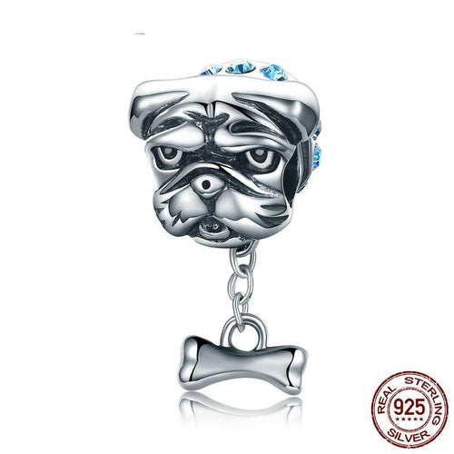 Sterling Silver Dangling Bone Blue Collar Bulldog Bead Charm
